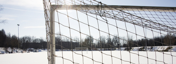 Soccer Field With Snow