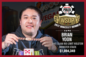 Brian Yoon Bests 2017 WSOP $1,500 No-Limit Hold'em Monster Stack Field for Third Gold